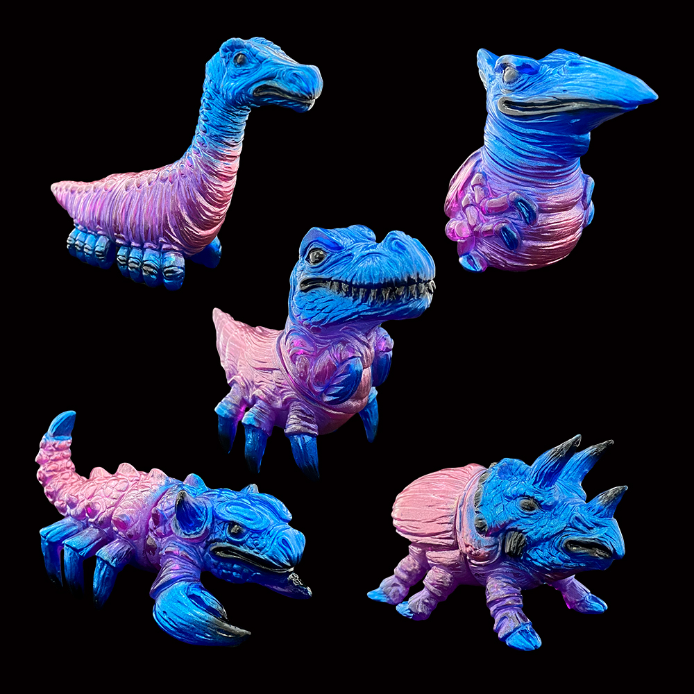 Clear Purple Painted Fossil Pods